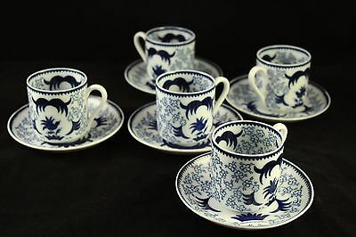 Vtg Arabia Finland Porcelain Suomi 10 pc Demitasse Cup & Saucer Set Blue White