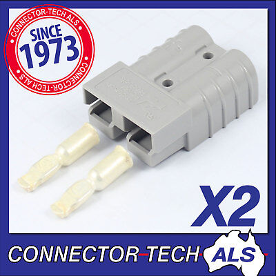 2X GENUINE Anderson 50 AMP Plugs 8AWG Contact - 4WD Caravan Camping #6319G2x2