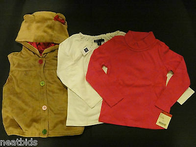 NEW! Lot of 3 Toddler Girls Tops and Sweater, Size 4T-5T