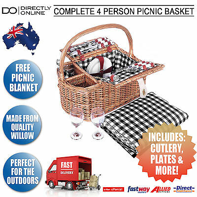 Complete 4 Person Picnic Basket Set W/ Blanket Glasses Cutlery Plates Napkins