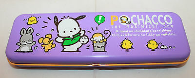 Sanrio Japan Pochacco Purple Orange Tin Can School Pencil Case Box Stationery