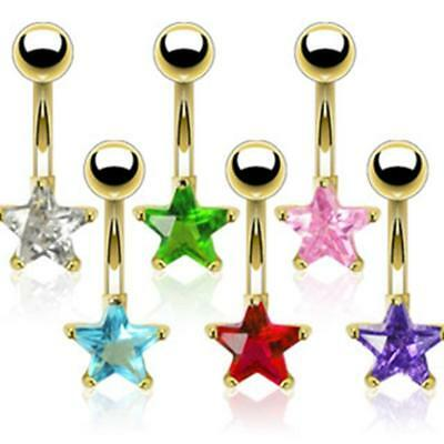 Af Surgical Steel Belly Button Piercing 14 Carat Gold-Plated Star with Zirconia