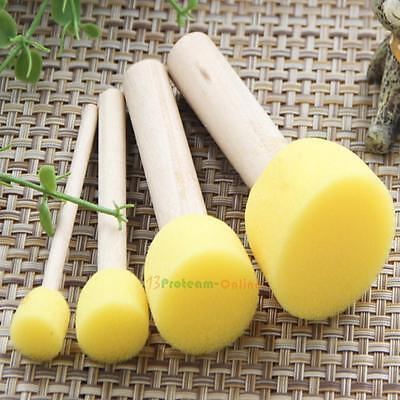 4Pcs Wooden Handle Stencil Sponge Brush Furniture Craft Art Child Painting Tool