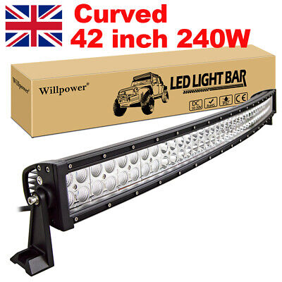 """42"""" 240W Curved LED Light Bar Spot Flood Combo Driving Lamp for Truck Suv JEEP"""