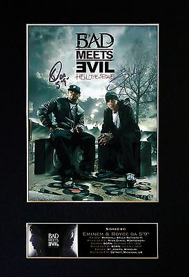 EMINEM Bad Meets Evil Signed Mounted Autograph Photo Prints A4 127