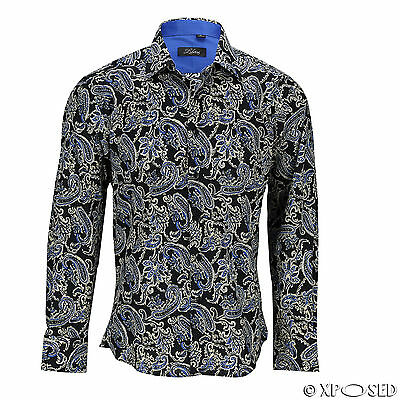 Mens Black Blue Vintage Paisley Print Cotton Button Shirt Long Sleeve Summer Top