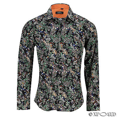 Mens Cotton Slim Fit Black Paisley Print Shirt Long Sleeve Summer Smart Casual