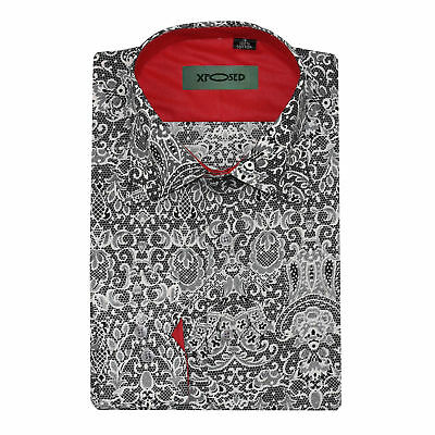 Mens Grey Vintage Paisley Print Cotton Button Shirt Long Sleeve Summer Casual