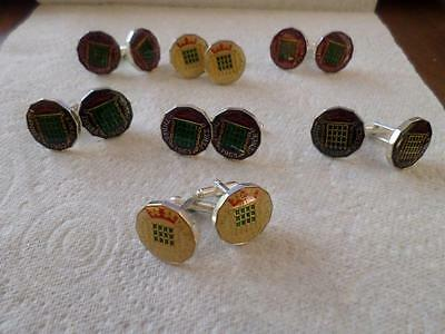 Vintage Enamelled Threepence Coin Cufflinks. Various Dates. Birthday Xmas Gifts
