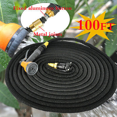 100 FT Flexible Expandable Garden Water Latex Hose Pipe With 8 pattern spray AU