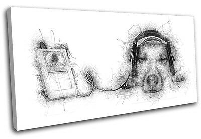 Cute Dog Music DJ Scribble Animals SINGLE CANVAS WALL ART Picture Print