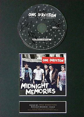 ONE DIRECTION Midnight Memories Signed CD Mounted Autograph Photo Prints A4 53