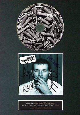 ARCTIC MONKEYS Signed CD Mounted Autograph Photo Prints A4 50