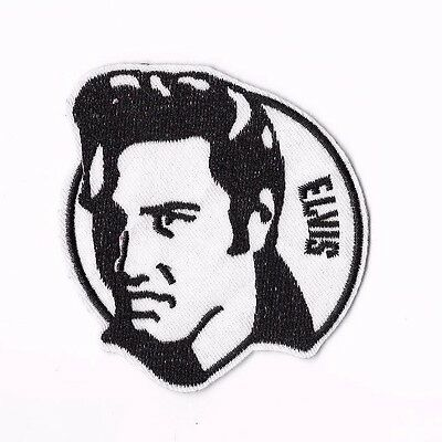 ELVIS PRESLEY IRON ON / SEW ON PATCH Embroidered Badge PT122 MUSIC Black White