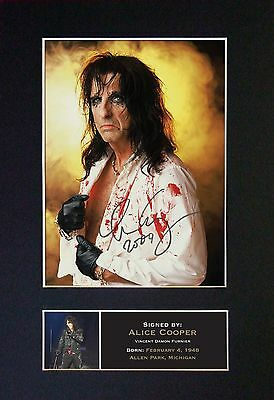 ALICE COOPER Signed Mounted Autograph Photo Prints A4 64