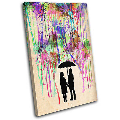 Couple Love Rain Abstract Paint Love SINGLE CANVAS WALL ART Picture Print