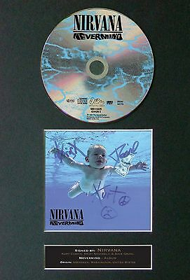 NIRVANA Nevermind Album Signed CD Mounted Autograph Photo Prints A4 20