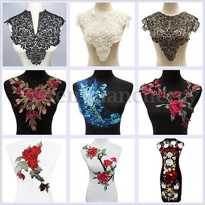 Lace Embroidered Venise Floral Rose Neckline Neck Collar Trim Sewing Applique