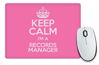 PINK Keep Calm I'm a Records Manager Mouse Mat COLOUR 3473