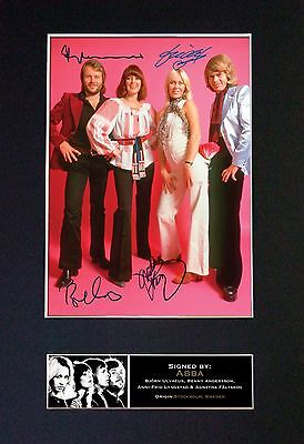ABBA Signed Mounted Autograph Photo Prints A4 371