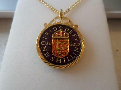 Vintage Enamelled Shilling Coin Pendant & Necklace. Various Dates. Birthday Gift