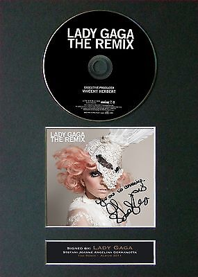 LADY GAGA The Remix Signed CD Mounted Autograph Photo Prints A4 11