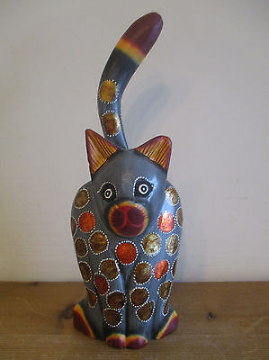 Fair Trade Hand Carved & Painted Wooden Standing Cat #1 Statue Ornament