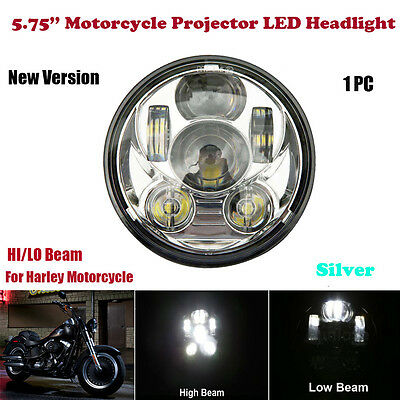 Chrome 5-3/4 5.75'' LED Motorcycle Headlight Daymaker Projector DRL for Harley