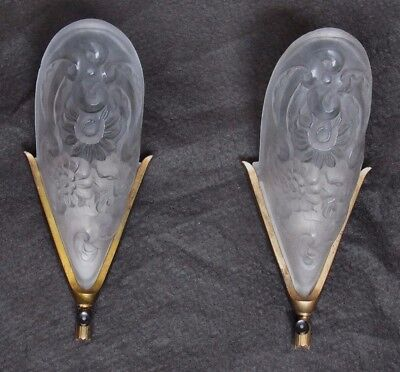 Large Antique Vintage French Floral Slip Shade Sconces - Professionally Rewired! • CAD $825.66