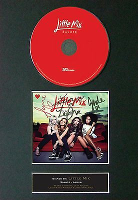 LITTLE MIX Salute Signed CD Mounted Autograph Photo Prints A4 9