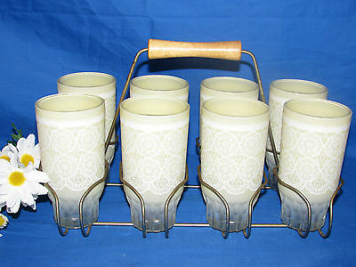 Vtg Federal Retro Yellow Lace Drinking Glasses/tumblers Set Of 8 W  Wire Carrier