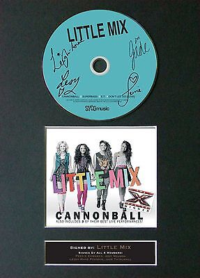 LITTLE MIX Cannonball Signed CD Mounted Autograph Photo Prints A4 8
