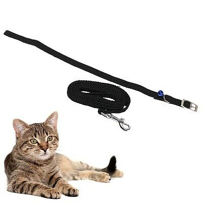 Pet/Cat/Kitten Black Collar & Lead Set, Adjustable Collar Elasticated Bell New