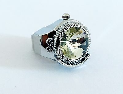 Designer Style Ladies Girls Finger Ring Watch Stainless Steel Adjustable Ring