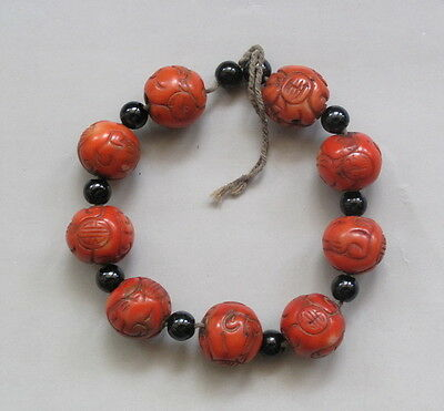 Rare Chinese natural Coral bead Carved Bracelet