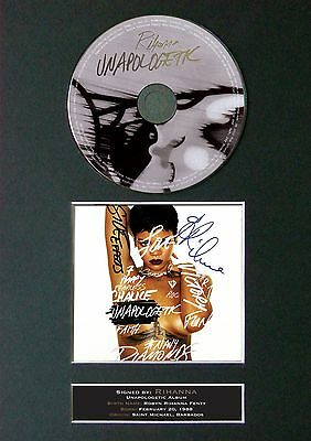 RIHANNA Unapologetic Signed CD Mounted Autograph Photo Prints A4 6