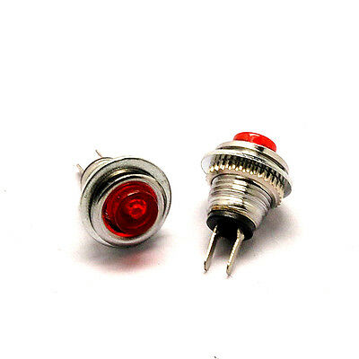 5 pcs Small round button switch 8mm Self-resetting DS-101 Red LED lights 1A125V