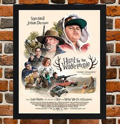 Framed Hunt for the Wilderpeople Movie Poster A4 / A3 Size In Black Frame .