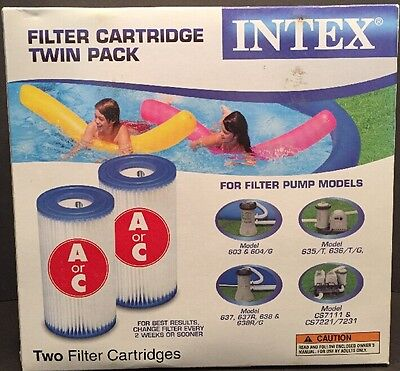 Intex Type A Or C Filter Cartridges For Pools (Twin Pack) 56680E