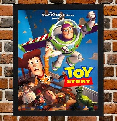Framed Toy Story Movie / Film Poster A4 / A3 Size Mounted In Black / White Frame
