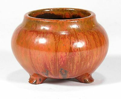 William J Walley art pottery cabinet vase orange drip flambe arts & crafts WJW
