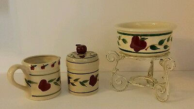 Stoneware Apple Covered Sugar Bowl & Creamer with Fondue on Rustic Metal Stand