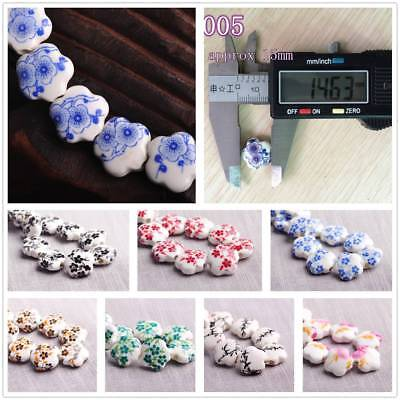 Charms 10/30pcs 10mm Flowers Pattern Ceramic Porcelain Loose Spacer Beads DIY