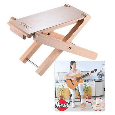 Foldable Wooden Guitar Footrest Stool Pedal 4-Level Adjustable Height Beech Q7S8