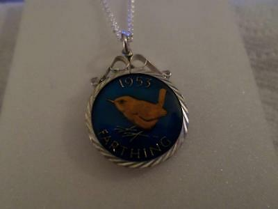 Vintage Enamelled Farthing Coin Pendant & Necklace. Various Dates. Birthday Gift