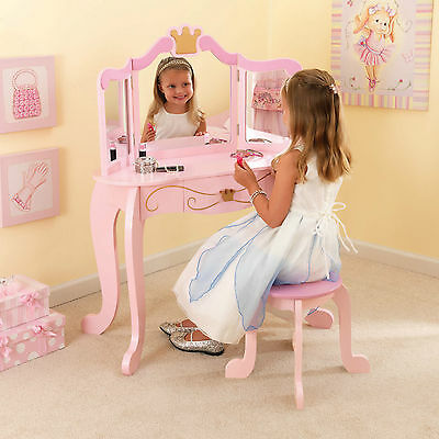 Kidkraft Princess Vanity & Stool Beautiful Girls Wooden Dressing Table Bnib