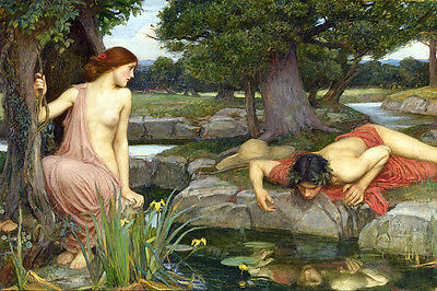 Large 12x18 Waterhouse Echo & Narcissus In Forest Painting Canvas Art Print