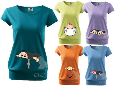 Maternity Pregnancy Funny T-shirt Top Tunic Baby Shower PEEK-A-BOO Xmas Gift