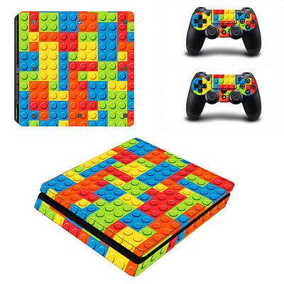 Bricks Vinyl Decal Cover Skin Sticker for Sony PS4 Slim Console & 2 Controller