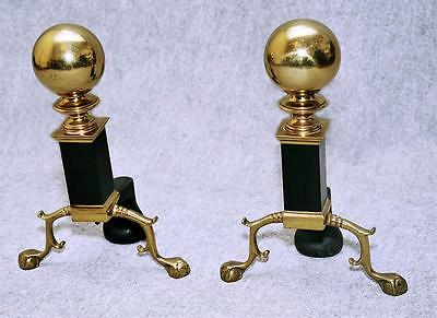 Chippendale Cannon Ball Andirons with Brass Ball & rectangular Ebonized column